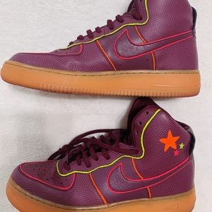 Custom High-Top Maroon Nike Sneakers
